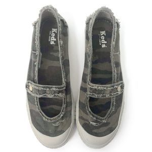 Keds Womens Distressed Camo Mary Jane Sneakers
